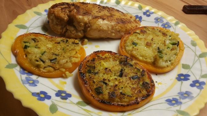 Resteküche – Reis-Gemüse Röstis im Paprikaring gebraten mit Hähnchenbrust
